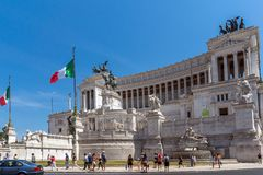 Amazing view of Altar of the Fatherland- Altare della Patria, known as the national Monument to Victo. ROME, ITALY - JUNE 23, 2017: Amazing view of Altar of the Royalty Free Stock Photos
