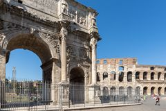 Amazing view of Arch of Constantine near Colosseum in city of Rome, Italy. ROME, ITALY - JUNE 23, 2017: Amazing view of Arch of Constantine near Colosseum in Stock Image