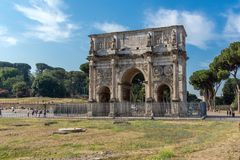Amazing view of Arch of Constantine near Colosseum in city of Rome, Italy. ROME, ITALY - JUNE 23, 2017: Amazing view of Arch of Constantine near Colosseum in Royalty Free Stock Photo