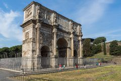 Amazing view of Arch of Constantine near Colosseum in city of Rome, Italy. ROME, ITALY - JUNE 23, 2017: Amazing view of Arch of Constantine near Colosseum in Royalty Free Stock Image