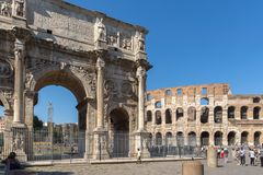 Amazing view of Arch of Constantine near Colosseum in city of Rome, Italy. ROME, ITALY - JUNE 23, 2017: Amazing view of Arch of Constantine near Colosseum in Stock Photography