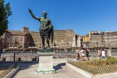 Amazing view of Augustus Forum and statue in city of Rome, Italy. ROME, ITALY - JUNE 23, 2017: Amazing view of Augustus Forum and statue in city of Rome, Italy Stock Image