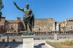 Amazing view of Augustus Forum and statue in city of Rome, Italy. ROME, ITALY - JUNE 23, 2017: Amazing view of Augustus Forum and statue in city of Rome, Italy Stock Photography