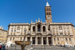Amazing view of Basilica Papale di Santa Maria Maggiore in Rome, Italy. ROME, ITALY - JUNE 22, 2017: Amazing view of Basilica Papale di Santa Maria Maggiore in Royalty Free Stock Image