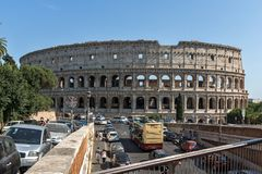 Amazing view of Colosseum in city of Rome, Italy. ROME, ITALY - JUNE 23, 2017: Amazing view of Colosseum in city of Rome, Italy Royalty Free Stock Images
