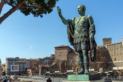 Amazing view of Nerva statue in city of Rome, Italy Royalty Free Stock Images