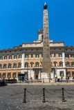 Amazing view Obelisk of Montecitorio and Palazzo Montecitorio in city of Rome, Italy. ROME, ITALY - JUNE 23, 2017: Amazing view Obelisk of Montecitorio and Stock Photography