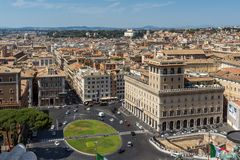 Amazing view of Piazza Venezia in city of Rome, Italy Royalty Free Stock Photography