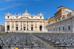 Amazing view of Saint Peter`s Square and St. Peter`s Basilica in Rome, Italy. ROME, ITALY - JUNE 23, 2017: Amazing view of Saint Peter`s Square and St. Peter`s Stock Photography