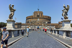 ROME, ITALY - JUNE 22, 2017: Amazing view of St. Angelo Bridge and castle st. Angelo in city of Rome Royalty Free Stock Images
