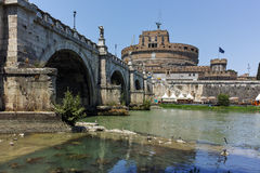 ROME, ITALY - JUNE 22, 2017: Amazing view of St. Angelo Bridge,  Tiber River and castle st. Angelo in city of Rome Royalty Free Stock Images