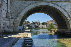ROME, ITALY - JUNE 22, 2017: Amazing view of St. Angelo Bridge and  Tiber River in city of Rome Royalty Free Stock Images