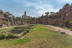 Amazing view of Temple of Vesta at Roman Forum in city of Rome, Italy. ROME, ITALY - JUNE 24, 2017: Amazing view of Temple of Vesta at Roman Forum in city of Stock Images