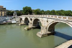Amazing view of Tiber River and Ponte Sisto in city of Rome, Italy Stock Photos