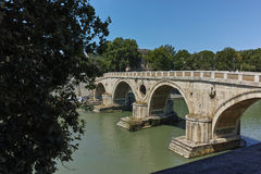 ROME, ITALY - JUNE 23, 2017: Amazing view of Tiber River and Ponte Sisto in city of Rome Stock Photos