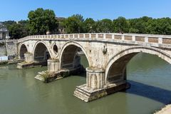 Amazing view of Tiber River and Ponte Sisto in city of Rome, Italy Royalty Free Stock Image