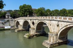 Amazing view of Tiber River and Ponte Sisto in city of Rome, Italy. ROME, ITALY - JUNE 23, 2017: Amazing view of Tiber River and Ponte Sisto in city of Rome Royalty Free Stock Photos