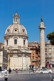 Amazing view of Trajan Column in city of Rome, Italy Stock Photos