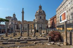 Amazing view of Trajan Column and Forum in city of Rome, Italy. ROME, ITALY - JUNE 23, 2017: Amazing view of Trajan Column and Forum in city of Rome, Italy Royalty Free Stock Photography