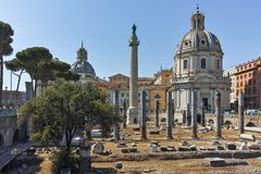 ROME, ITALY - JUNE 23, 2017: Amazing view of Trajan Column and Forum in city of Rome Stock Photography