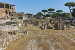 ROME, ITALY - JUNE 23, 2017: Amazing view of Trajan Forum in city of Rome Stock Image