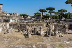 Amazing view of Trajan Forum in city of Rome, Italy. ROME, ITALY - JUNE 23, 2017: Amazing view of Trajan Forum in city of Rome, Italy Royalty Free Stock Photos
