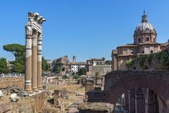 Amazing view of Trajan Forum in city of Rome, Italy. ROME, ITALY - JUNE 23, 2017: Amazing view of Trajan Forum in city of Rome, Italy Stock Photos