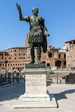 Amazing view of Trajan statue in city of Rome, Italy. ROME, ITALY - JUNE 23, 2017: Amazing view of Trajan statue in city of Rome, Italy Royalty Free Stock Photos