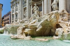 ROME, ITALY - JUNE 23, 2017: Amazing view of Trevi Fountain Fontana di Trevi in city of Rome Stock Photos