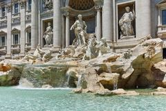 ROME, ITALY - JUNE 23, 2017: Amazing view of Trevi Fountain Fontana di Trevi in city of Rome Royalty Free Stock Photos