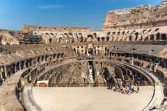 Ancient arena of gladiator Colosseum in city of Rome, Italy. ROME, ITALY - JUNE 24, 2017:  Ancient arena of gladiator Colosseum in city of Rome, Italy Stock Images