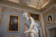 Baroque marble sculpture David by Bernini 1623-1624 in Galleria Borghese royalty free stock image