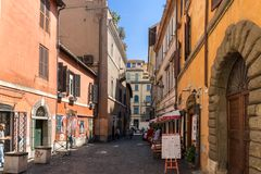 Building and street in Trastavete district in city of Rome, Italy. ROME, ITALY - JUNE 23, 2017: Building and street in Trastavete district in city of Rome, Italy Stock Images