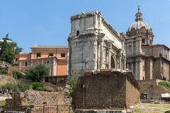 Capitoline Hill, Septimius Severus Arch at Roman Forum in city of Rome, Italy. ROME, ITALY - JUNE 24, 2017: Capitoline Hill, Septimius Severus Arch at Roman Royalty Free Stock Photos