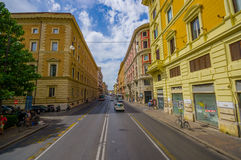 ROME, ITALY - JUNE 13, 2015: Classic street in Rome, ancient city with traditional buildings and parks Royalty Free Stock Image