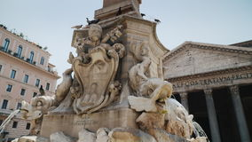 Rome, Italy, June 2017: Fountain in the Rotunda Square in Rome near Pantheon. Statues of toothy dolphins stock video