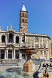 ROME, ITALY - JUNE 22, 2017: Frontal view of Basilica Papale di Santa Maria Maggiore in Rome. Italy Stock Images