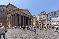 Frontal view of Pantheon in city of Rome, Italy. ROME, ITALY - JUNE 23, 2017: Frontal view of Pantheon in city of Rome, Italy Royalty Free Stock Image