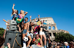 Rome, Italy - June 23 2012. Gay pride day, parade people in Rome Stock Photos