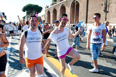 Rome, Italy - June 23 2012. Gay pride day, parade people in Rome Royalty Free Stock Photos