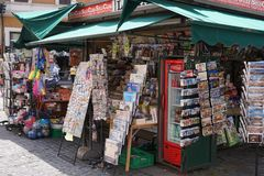Newsstand outside. Rome, Italy - June 11, 2018: Newsagent`s shop exterior royalty free stock photos