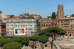Panoramic view of City of Rome from the roof of Altar of the Fatherland, Italy. ROME, ITALY - JUNE 23, 2017:  Panoramic view of City of Rome from the roof of Royalty Free Stock Photos