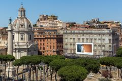 Panoramic view of City of Rome from the roof of Altar of the Fatherland, Italy. ROME, ITALY - JUNE 23, 2017:  Panoramic view of City of Rome from the roof of Royalty Free Stock Photo