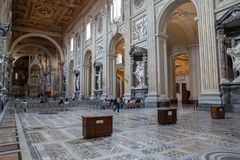 Panoramic view of interior of Lateran Basilica (Papal Archbasilica of St. Joh royalty free stock photos
