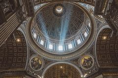 Panoramic view of interior of Papal Basilica of St. Peter (St. Peter's Basili. Rome, Italy - June 22, 2018: Panoramic view of interior of Papal Basilica of St royalty free stock images