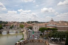 Panoramic view on the Papal Basilica of St. Peter in the Vatican and river. Rome, Italy - June 22, 2018: Panoramic view on the Papal Basilica of St. Peter (St royalty free stock photos