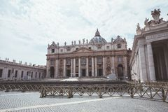 Panoramic view on the Papal Basilica and square of St. Peter in the Vatican. Rome, Italy - June 22, 2018: Panoramic view on the Papal Basilica of St. Peter (St royalty free stock image