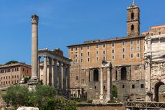 Panoramic view of Roman Forum and Capitoline Hill in city of Rome, Italy. ROME, ITALY - JUNE 24, 2017: Panoramic view of Roman Forum and Capitoline Hill in city royalty free stock photo