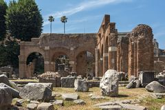 Panoramic view of Roman Forum in city of Rome, Italy. ROME, ITALY - JUNE 24, 2017: Panoramic view of Roman Forum in city of Rome, Italy Royalty Free Stock Photos