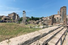 Panoramic view of Roman Forum in city of Rome, Italy. ROME, ITALY - JUNE 24, 2017: Panoramic view of Roman Forum in city of Rome, Italy Royalty Free Stock Photography